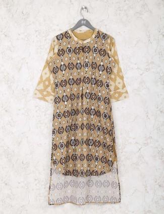 Mustard yellow cotton printed kurti