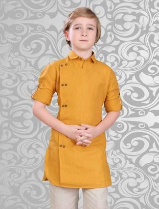 Mustard yellow cotton short pathani