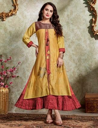 Mustard yellow cotton silk double layer kurti