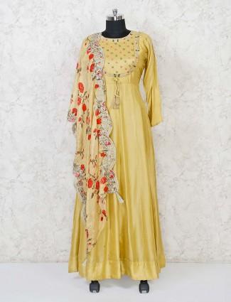 Mustard yellow cotton silk floor length anarkali suit