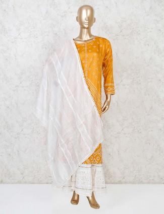 Mustard yellow cotton silk printed sharara suit