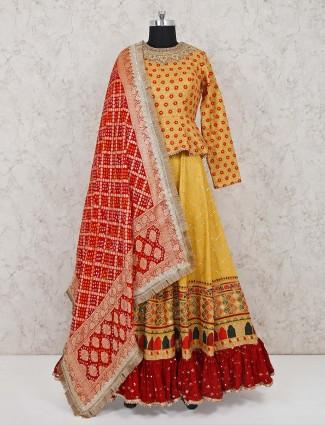 Mustard yellow cotton silk wedding salwar suit