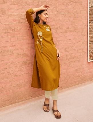 Mustard yellow cotton thread work kurti in cotton