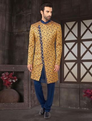 Mustard yellow double layer cotton silk indo wetsern