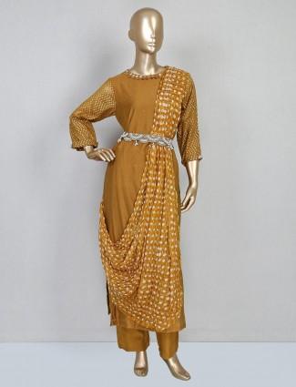 Mustard yellow festive cotton designer salwar suit