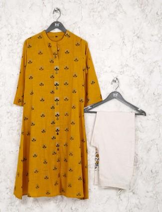 Mustard yellow festive wear kurti set