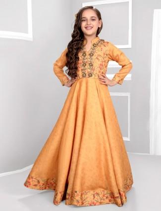 Mustard yellow floor length anarkali salwar suit in cotton silk