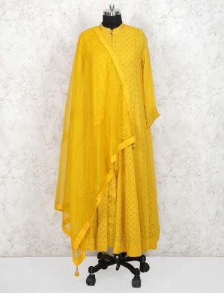 Mustard yellow georgette floor length anarkali salwar suit