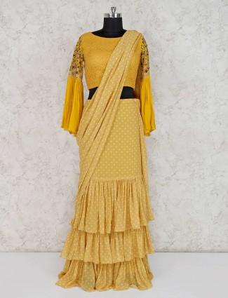 Mustard yellow georgette wedding ready to wear saree