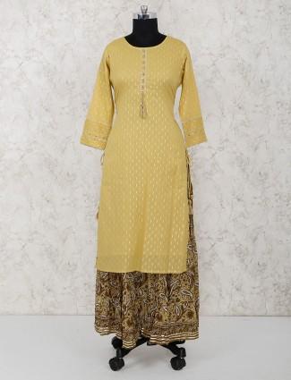 Mustard yellow hue cotton fabric lehenga suit