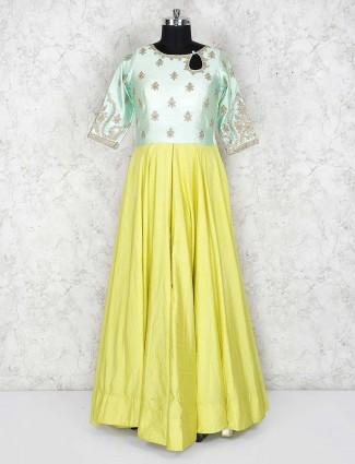 Mustard yellow hue cotton silk festive floor length anarklai salwar suit