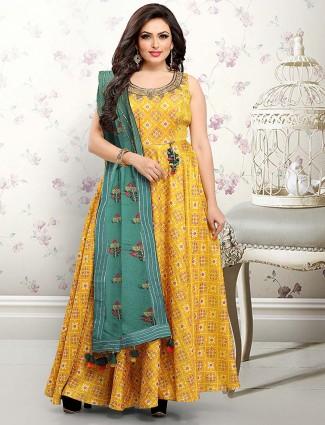 Mustard yellow hue festive floor length anarkali salwar suit