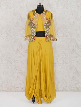 Mustard yellow jecket style lehenga suit