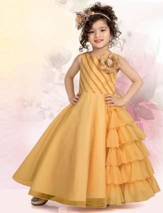 Mustard yellow net wedding gown