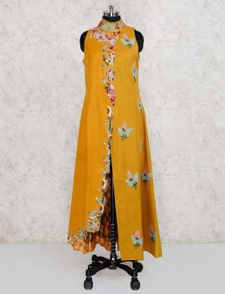 Mustard yellow party wear cotton silk long salwar suit