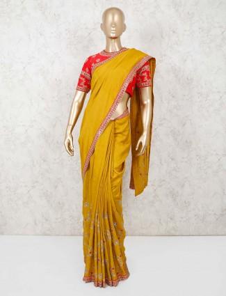 Mustard yellow pashmina silk saree with readymade blouse