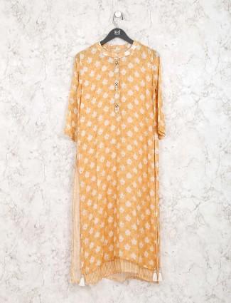 Mustard yellow printed cotton kurti set
