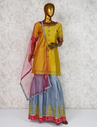 Mustard yellow punjabi sharara suit in cotton silk fabric
