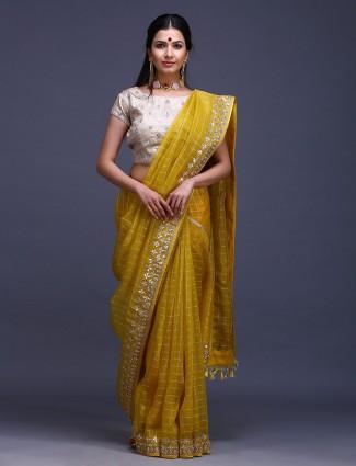 Mustard yellow pure silk fabric pure silk saree