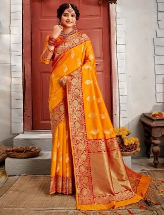 Mustard yellow reception session saree in banarasi silk