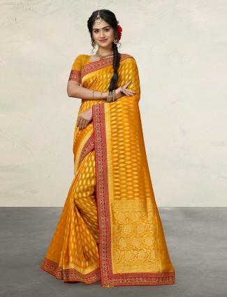 Mustard yellow reception wear banarasi silk saree