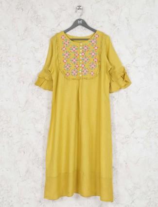 Mustard yellow round neck kurti