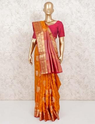 Mustard yellow saree in banarasi pure silk