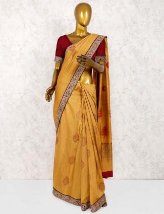 Mustard yellow saree in pure silk