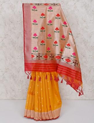 Mustard yellow saree in semi silk