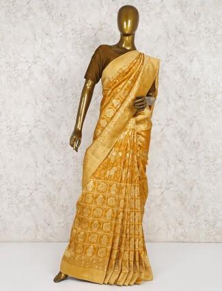 Mustard yellow saree in semi silk fabric