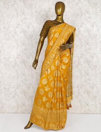 Mustard yellow semi silk fabric wedding saree
