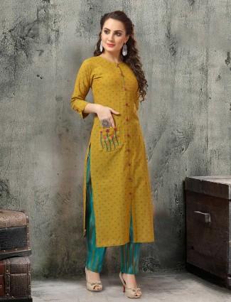 Mustard yellow side slits cotton kurti set