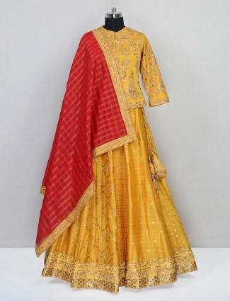 Mustard yellow silk wedding session lehenga