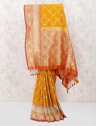 Mustard yellow wedding banarasi semi silk