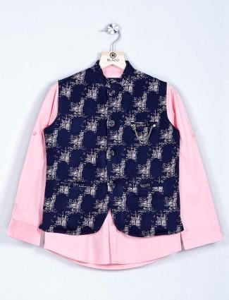 Navy and pink printed waistcoat