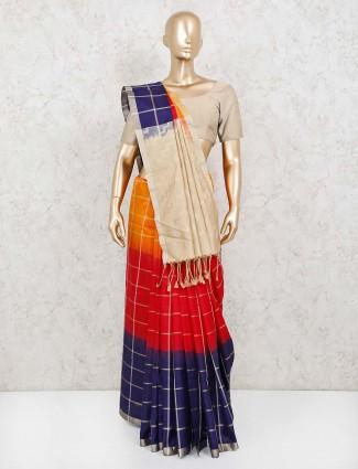 Navy and red pure silk checks saree