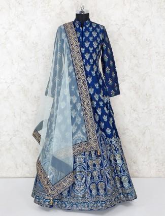Navy blue anarkali salwar suit in raw silk