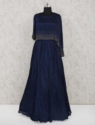 Navy blue cape style chiffon indo western salwar suit