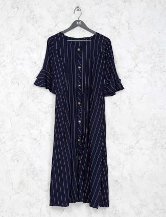 Navy blue color round neck cotton fabric kurti