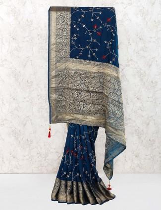 Navy blue cotton fabric lovely saree
