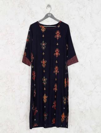 Navy blue cotton fabric printed kurti set