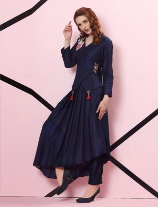 Navy blue cotton silk designer pleated kurti set