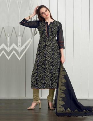 Navy blue cotton silk festive punjabi churidar suit