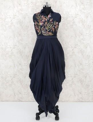 Navy blue cotton silk indo western salwar suit