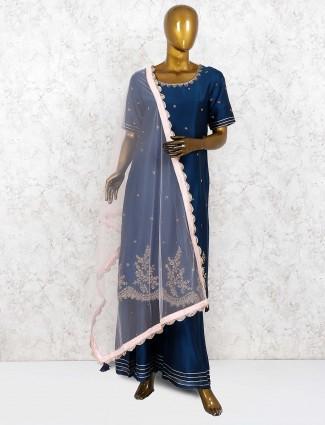 Navy blue cotton silk punjabi palazzo suit