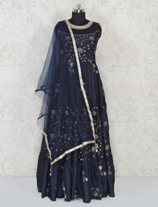 Navy blue designer floor length Anarkali in cotton silk for festive