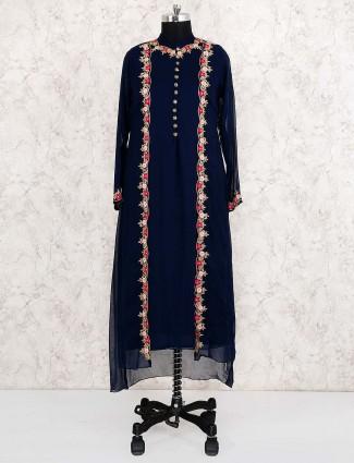 Navy blue designer salwar suit in georgette fabric