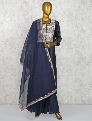 Navy blue festive cotton silk palazzo suit