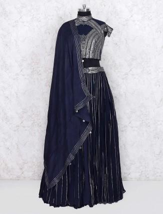 Navy blue georgette fabric lehenga choli
