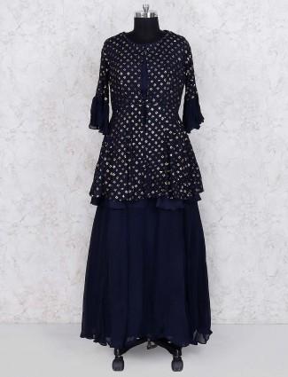 Navy blue georgette fabric lehenga cum salwar suit